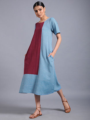 Blue-Maroon Khadi Dress