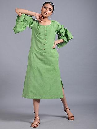 Green Striped Khadi Dress
