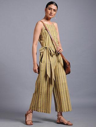 Grey-Yellow Striped khadi Jumpsuit
