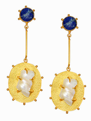 Lapis Lazuli Handcrafted Earrings with Baroque Pearls