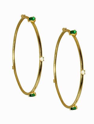 Tsavorite Moonstone Gold Plated Handcrafted Earrings