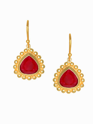 Ruby Gold Plated Handcrafted Earrings