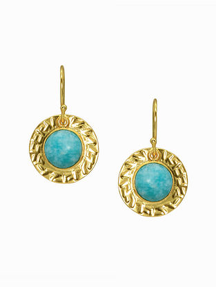 Amazonite Gold Plated Handcrafted Earrings