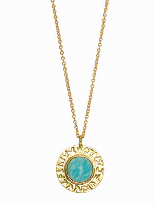 Amazonite Gold Plated Handcrafted Necklace