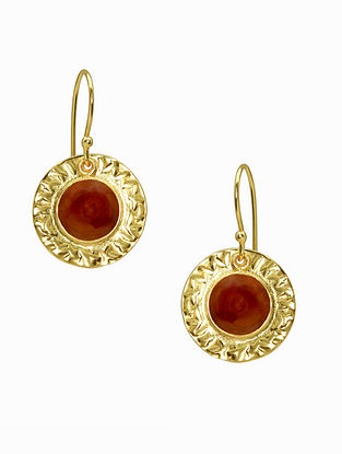 Carnelian Gold Plated Handcrafted Earrings