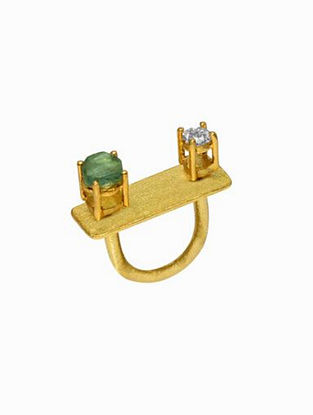 Fluorite Zirconia Gold Plated Handcrafted Ring