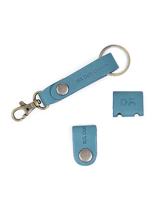 Blue Leather Keychain with Two Cable Wraps (Set of 3)