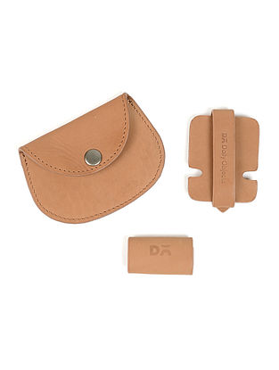 Beige Leather Coin Purse with Two Cable Wraps (Set of 3)