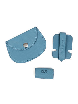 Blue Leather Coin Purse with Two Cable Wraps (Set of 3)