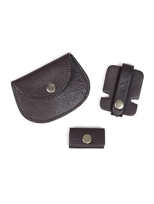 Black Leather Coin Purse with Two Cable Wraps (Set of 3)