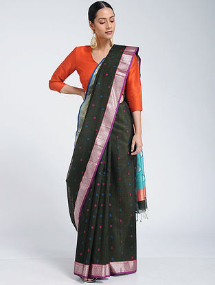Black Maheshwari Saree with Mangalgiri Blouse