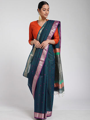 Blue Maheshwari Saree with Mangalgiri Blouse