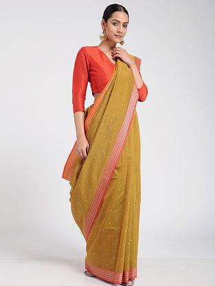 Mustard-Pink Hand-embroidered Maheshwari Saree with Cotton Blouse