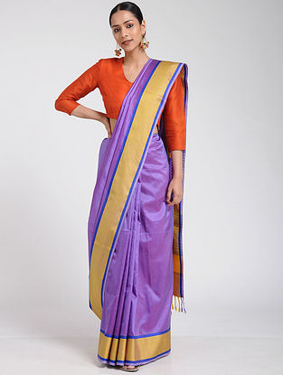 Purple-Yellow Maheshwari Silk Saree