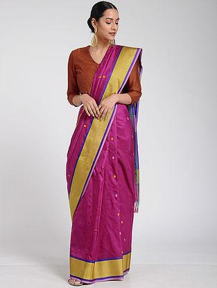 Magenta-Yellow Maheshwari Silk Saree