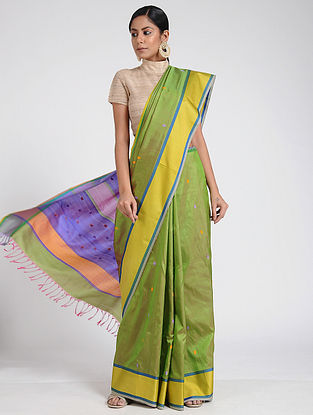 Green-Yellow Maheshwari Silk Saree