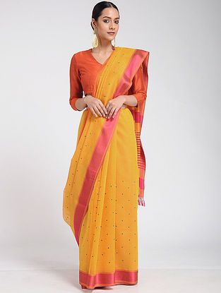 Yellow-Pink Maheshwari Saree with Mashru Blouse