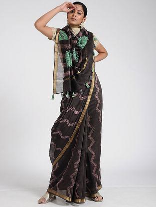 Black-Green Shibori and Hand-embroidered Maheshwari Saree with Blouse