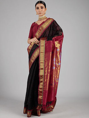 Black-Pink Handwoven Constructed Silk Organza Saree with Silk Blouse