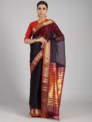 Black Handwoven Constructed Silk Organza Saree with Silk Blouse