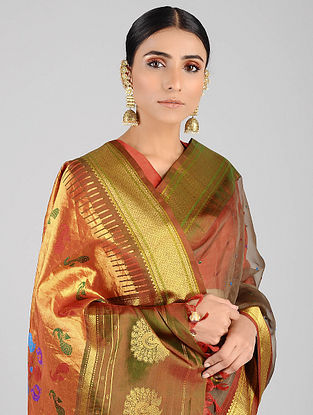 Beige-Pink Handwoven Constructed Silk Organza Saree with Silk Blouse