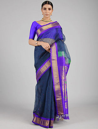 Blue Handwoven Constructed Silk Organza Saree with Silk Blouse