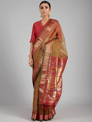 Brown-Pink Handwoven Constructed Silk Organza Saree with Silk Blouse