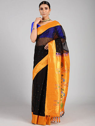 Black-Orange Handwoven Constructed Silk Organza Saree with Silk Blouse