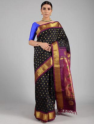 Black-Purple Handwoven Silk Paithani Saree