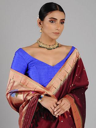 Maroon Handwoven Silk Paithani Saree