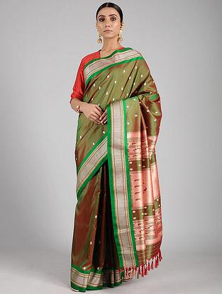 Green Handwoven Silk Paithani Saree with Silk Blouse