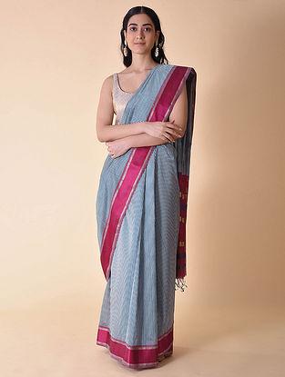 Blue-Pink Handwoven Maheshwari Checked Saree