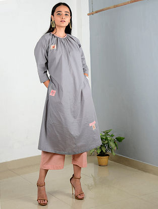 Grey-Beige Embroidered Cotton Tunic with Pants (Set of 2)
