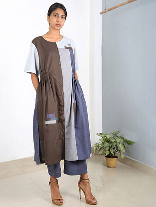 Grey-Blue Embroidered Cotton Tunic with Pants (Set of 2)