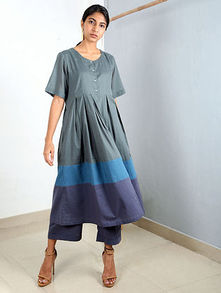 Green-Blue Pleated Cotton Tunic with Pants (Set of 2)
