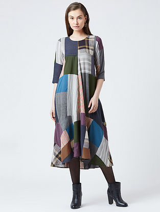Multicolored Cotton Dress With Patchwork