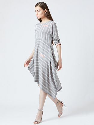 Grey-Pink Cotton Dress With Patchwork