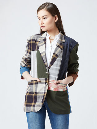 Multicolored Cotton Jacket With Patchwork