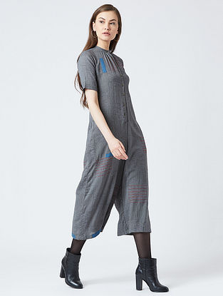 Grey-Teal Cotton Jumpsuit With Patchwork
