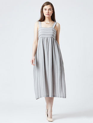 Grey-Rust Cotton Dress With Patchwork