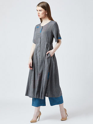 Grey Cotton Tunic with Pants (Set of 2) with Kantha Work