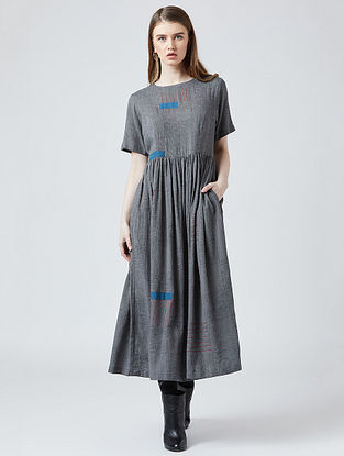 Grey Cotton Dress With Patchwork