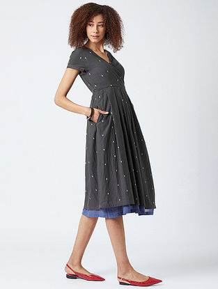 Charcoal Cotton Wrap Dress