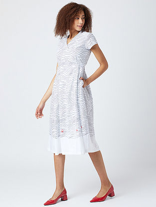 White Printed Cotton Wrap Dress