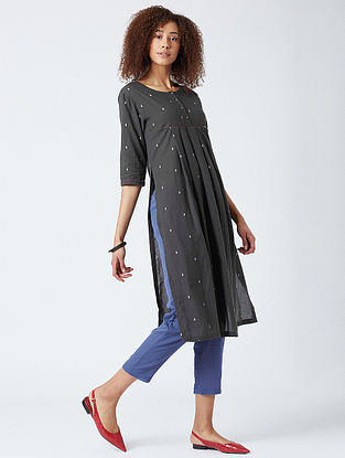 Charcoal Cotton Tunic with Kantha Detail and Blue Pants (Set of 2)