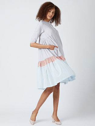 White Pleated Cotton Dress