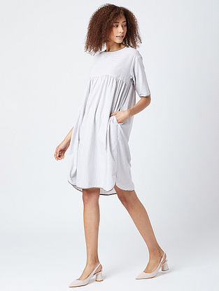 Grey Striped Cotton Oversized Dress