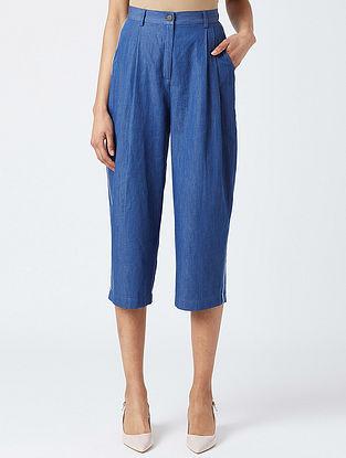 Blue Pleated Cotton Pants