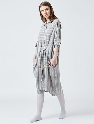 Grey Cotton Oversized Kaftan Dress