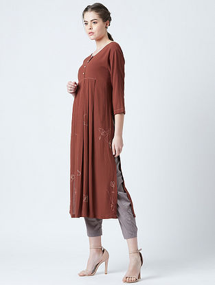 Hirsi Red Rayon Crepe Tunic with Kantha Embroidery